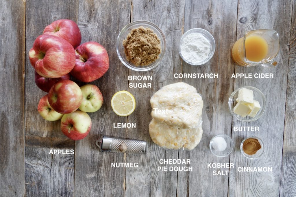 Ingredients for Mom's Apple Pie with Cheddar Cheese Crust
