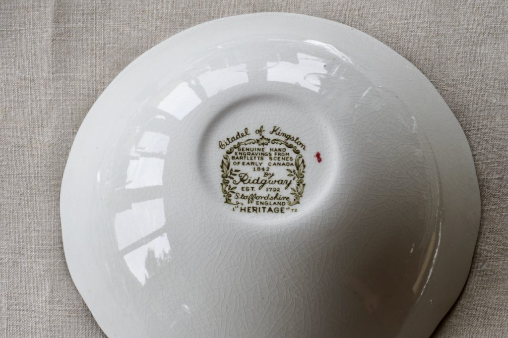 The hallmark for the Heritage china service by Ridgway
