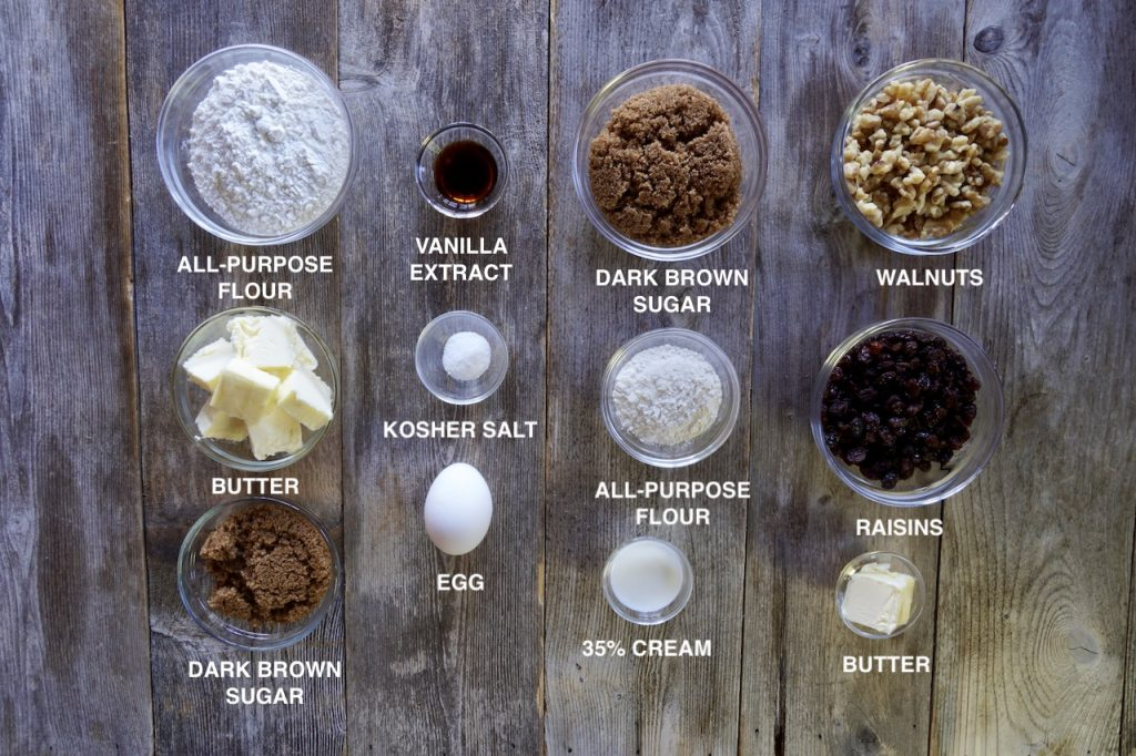 Ingredients for Butter Tart Squares