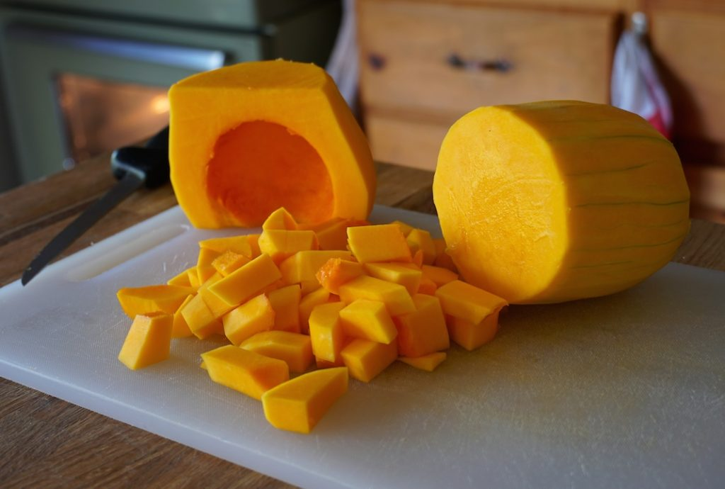 A butternut squash peeled and cut into cubes