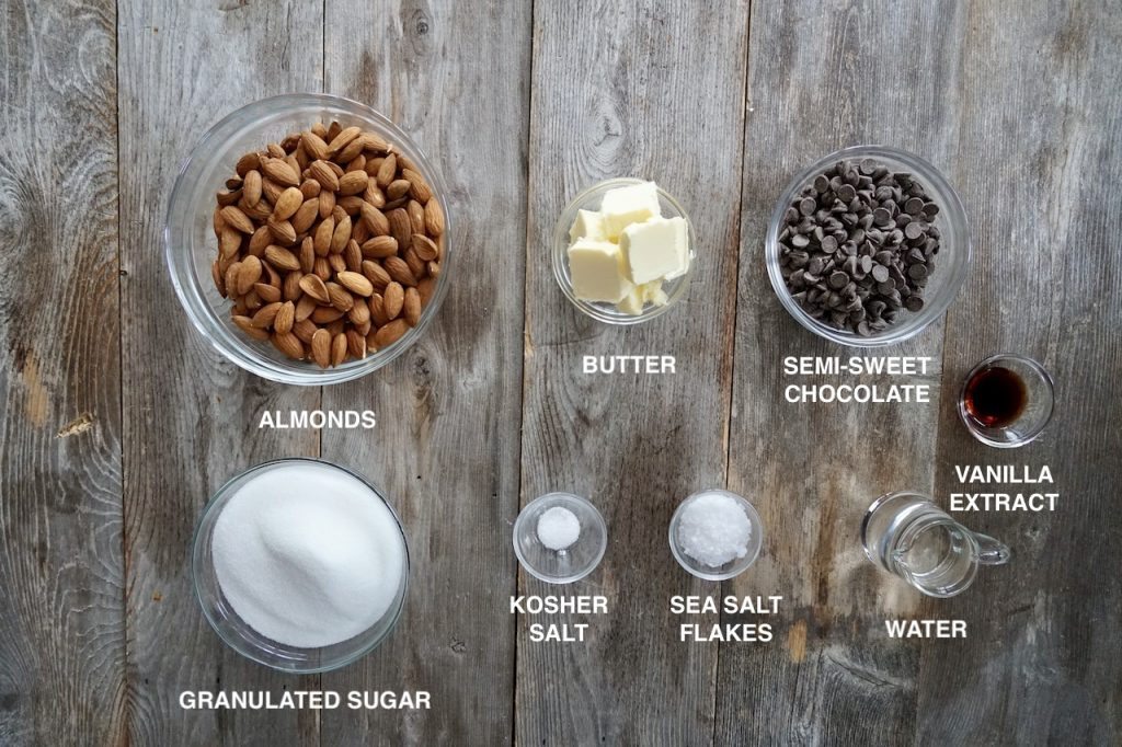 Ingredients for Chocolate-Almond Toffee Bark