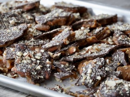 Chocolate-Almond Toffee Bark cracked into chunks