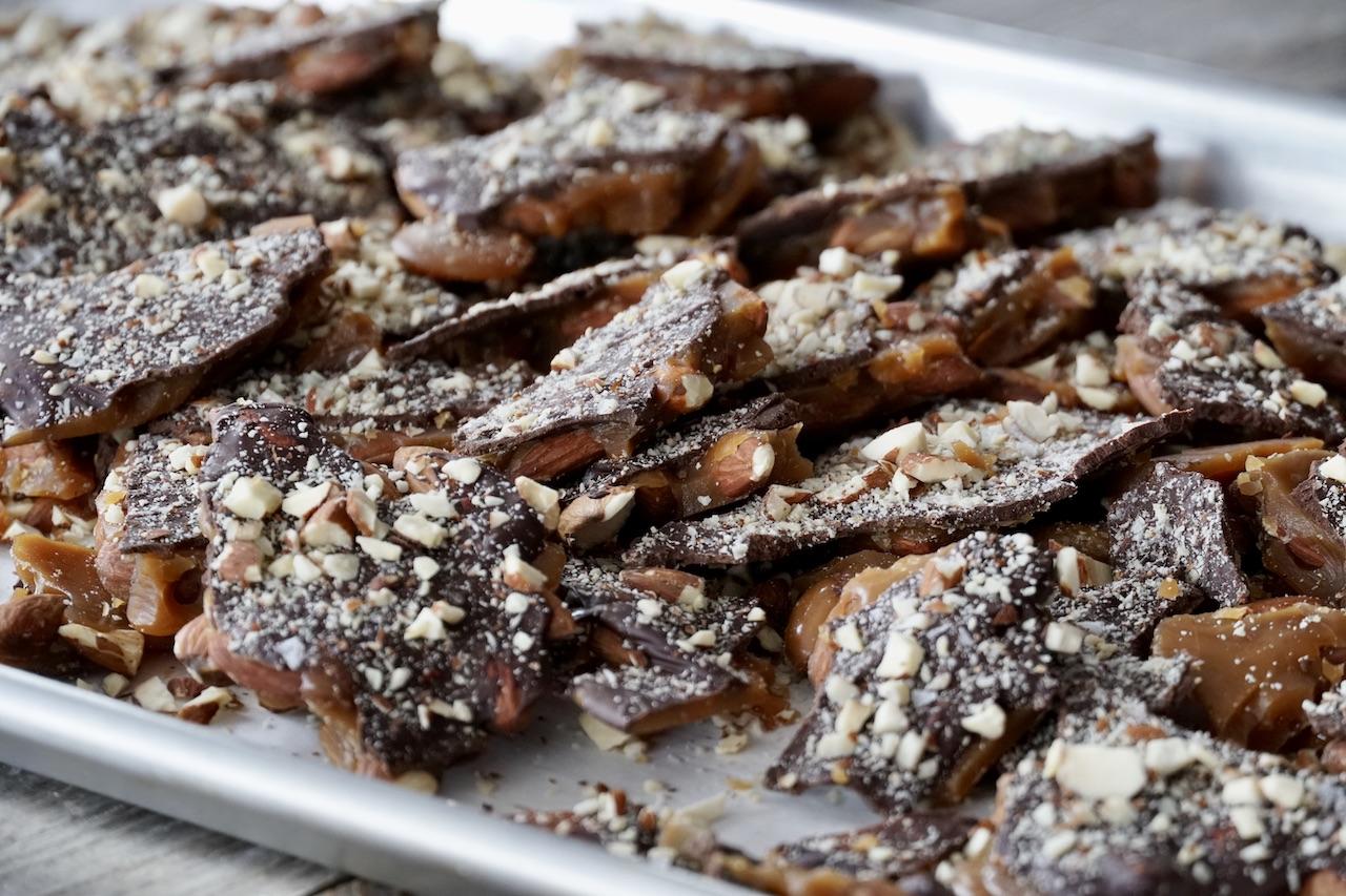 Chocolate-Almond Toffee Bark cracked into chunks