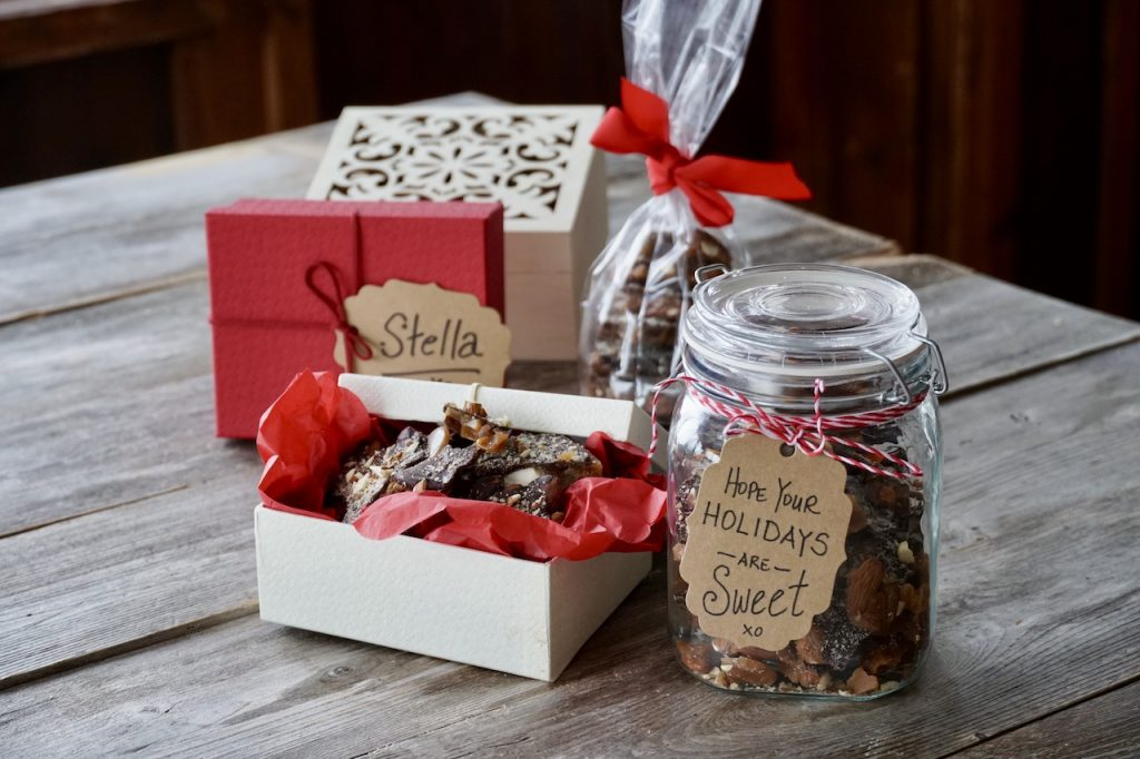 The Chocolate-Almond Toffee Bark packaged up a gifts