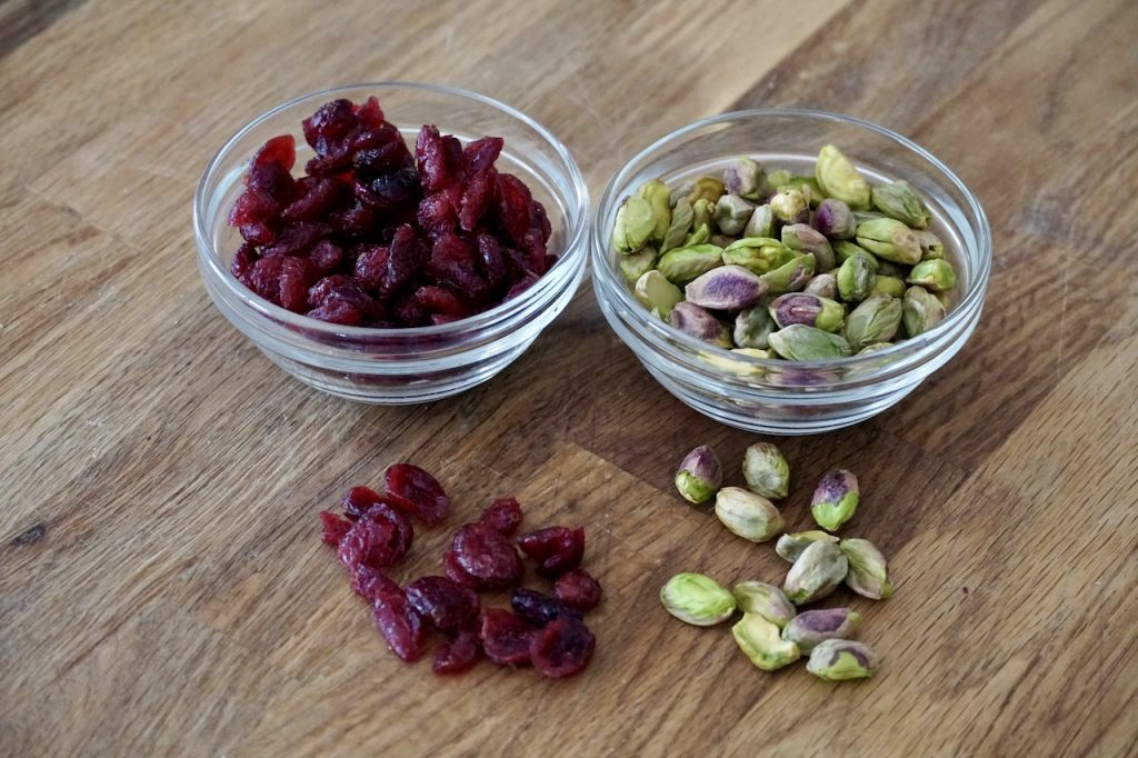 Dried cranberries and pistachios