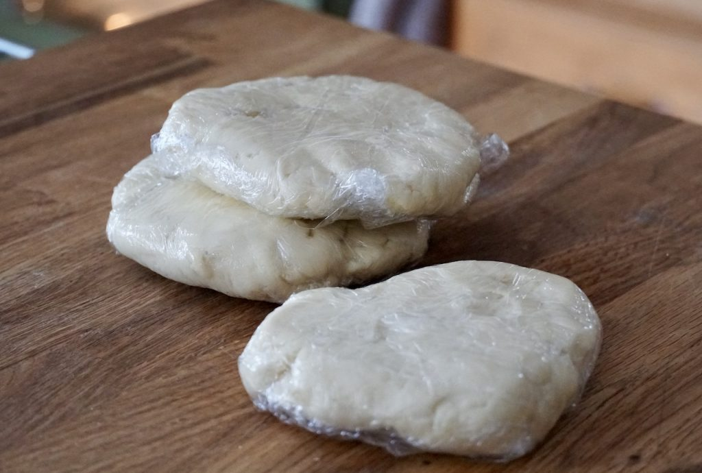 The dough for the tarts after being chilled
