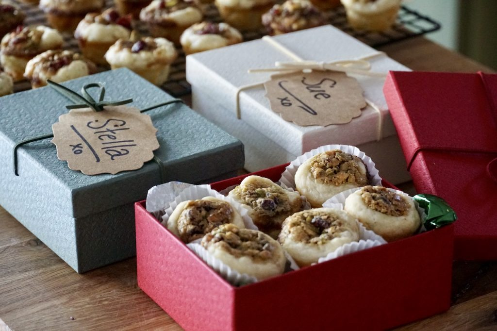 Mini Fruit and Nut Tarts ready for a holiday cookie swap