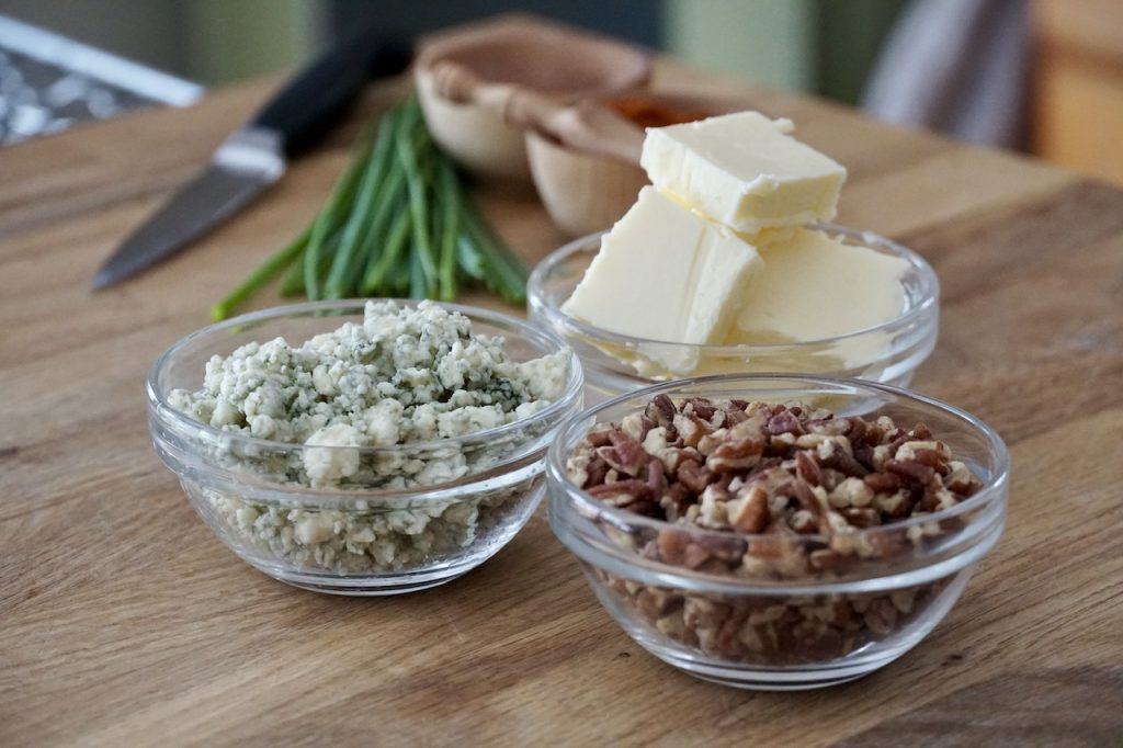 Blue cheese, chopped pecans and butter for the shortbreads