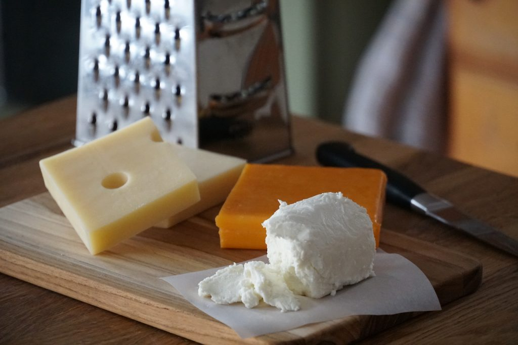 Cheddar, Swiss and goat's cheeses