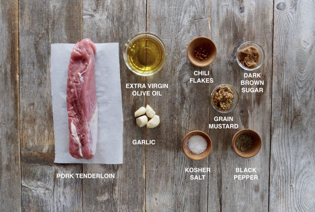Ingredients for oven-roasted pork tenderloin
