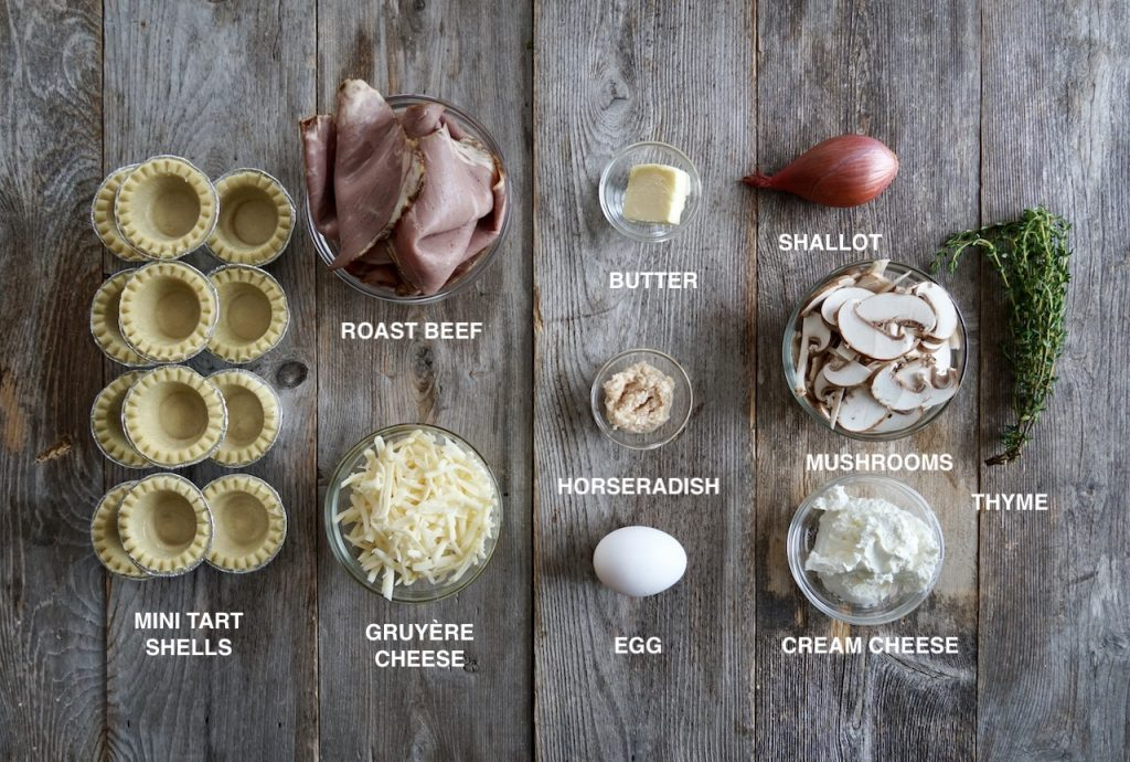 Ingredients for Mini Tarts with Roast Beef and Gruyère