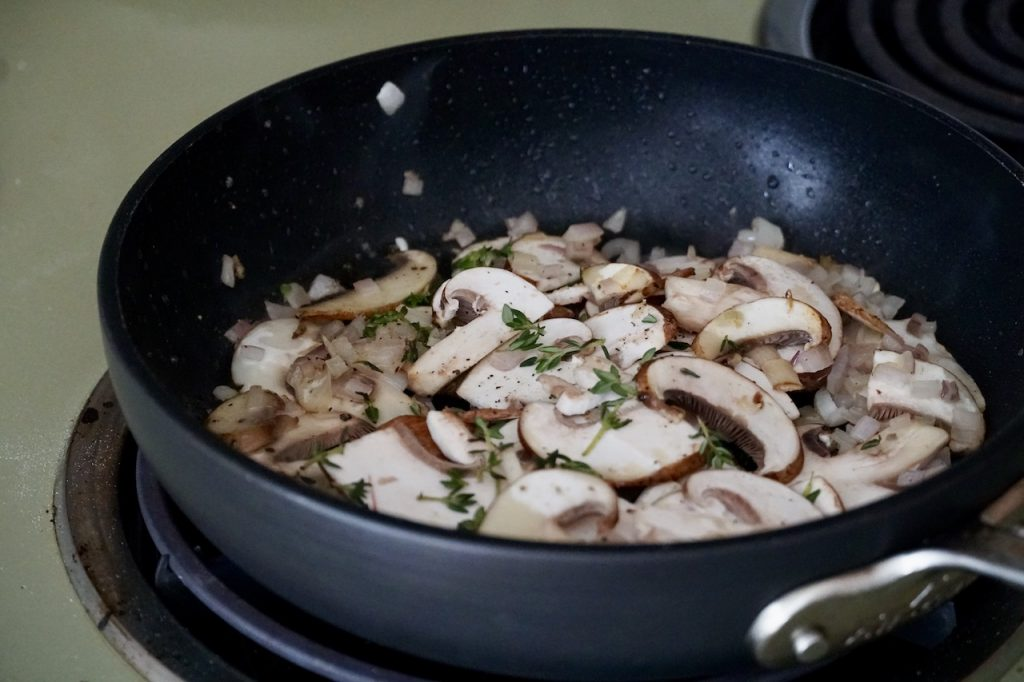 Mushrooms, shallot and thyme sautéed in butter