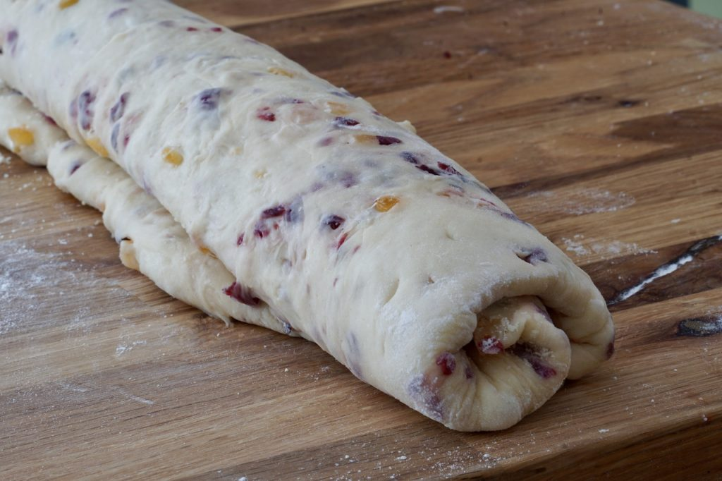 The dough rolled up