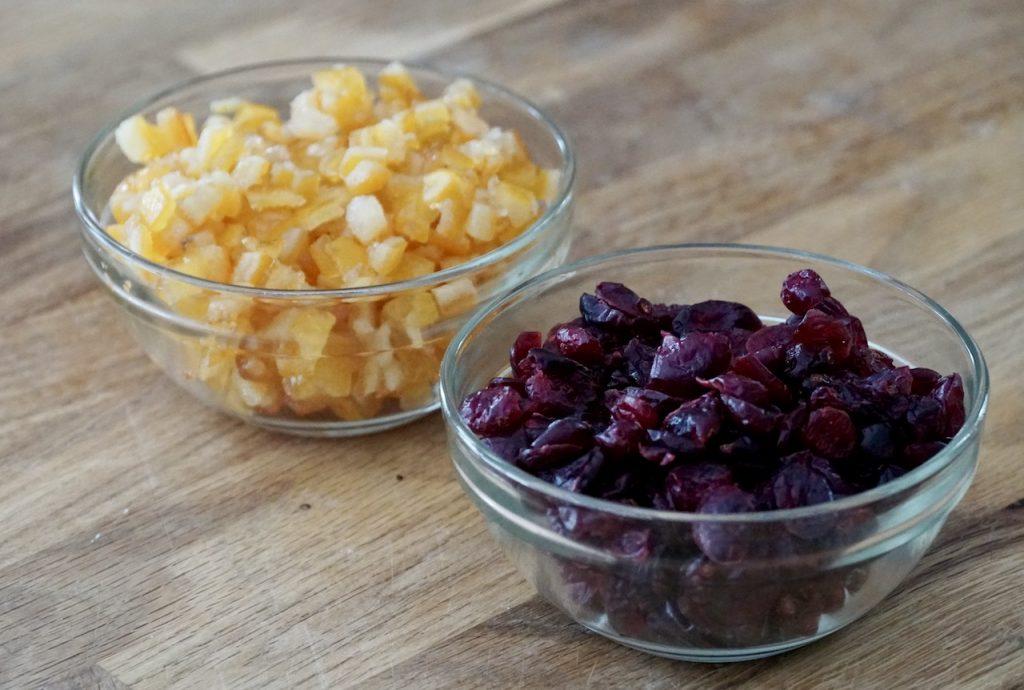 Dried Cranberries and glazed orange peel