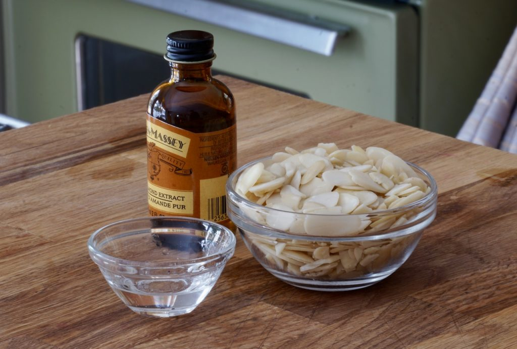 Sliced almonds and pure almond extract
