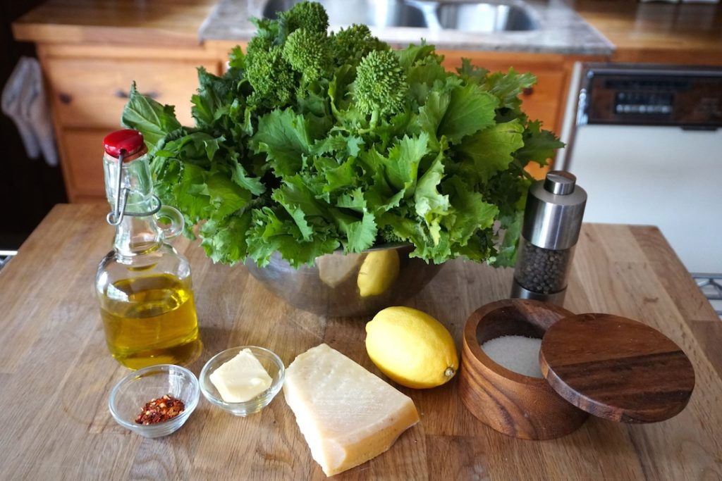 Ingredients for Rapini with Garlic and Parmesan