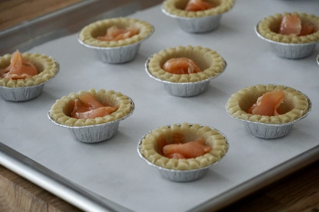 Smoked Salmon tucked into the tart shells