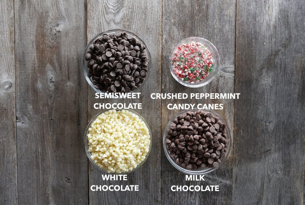 Ingredients for Chocolate Peppermint Bark