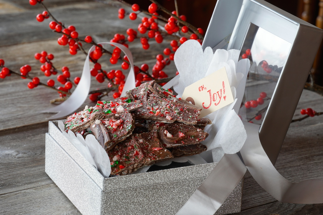 Triple Chocolate Peppermint Bark packaged as a gift