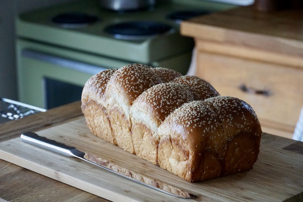 A loaf of fresh challah bread