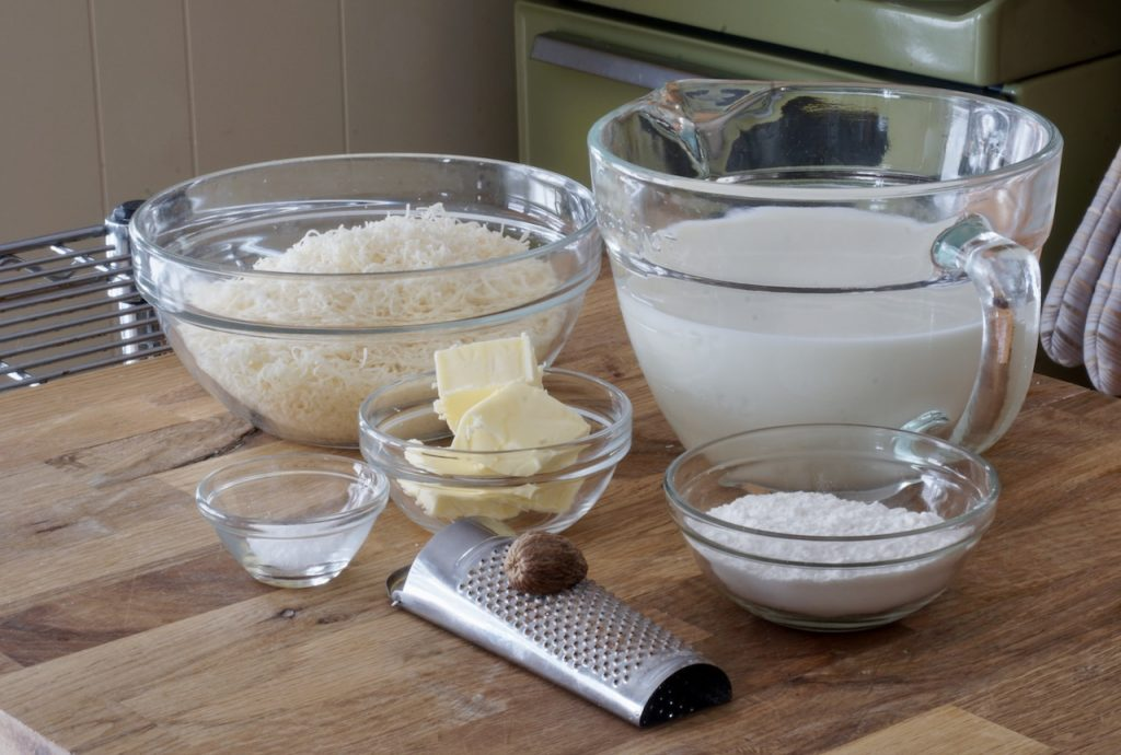 The ingredients assembled to make the cream sauce