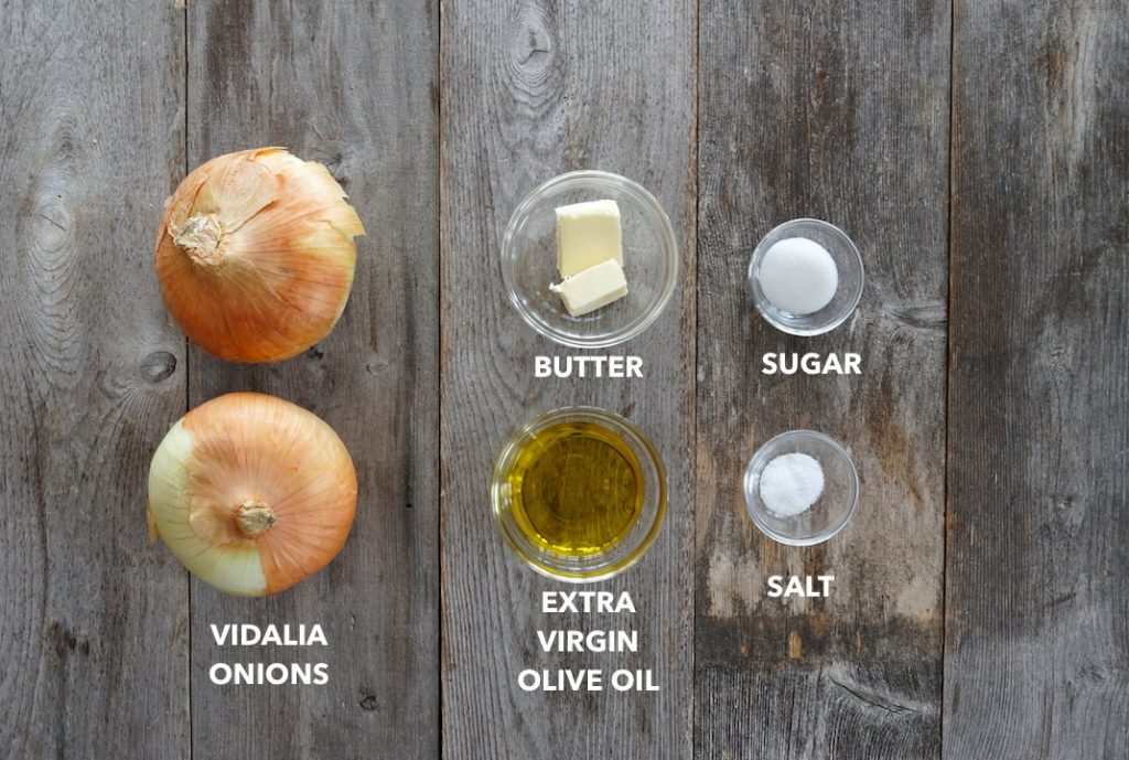 Ingredients for caramelized onions