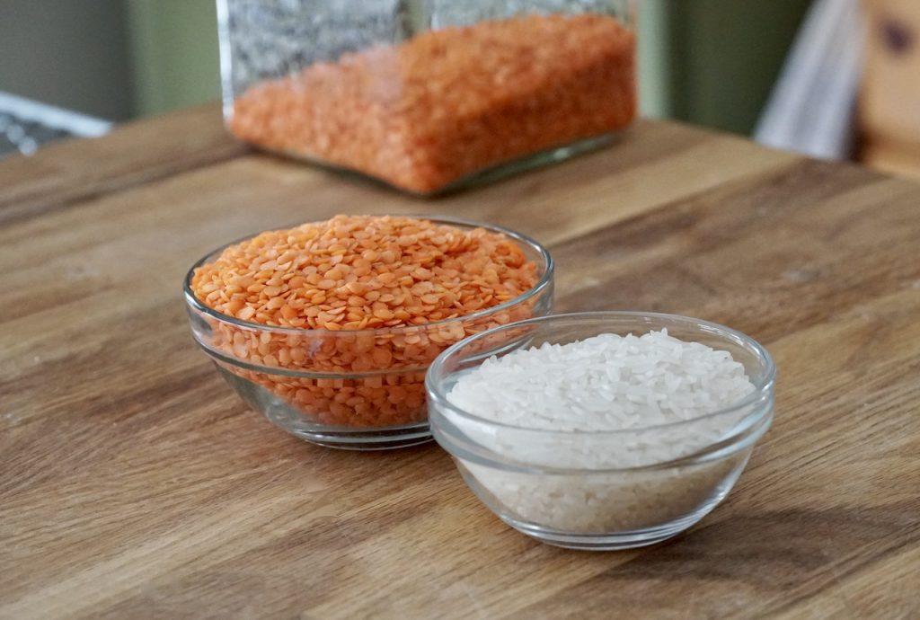 Basmati rice and red lentils