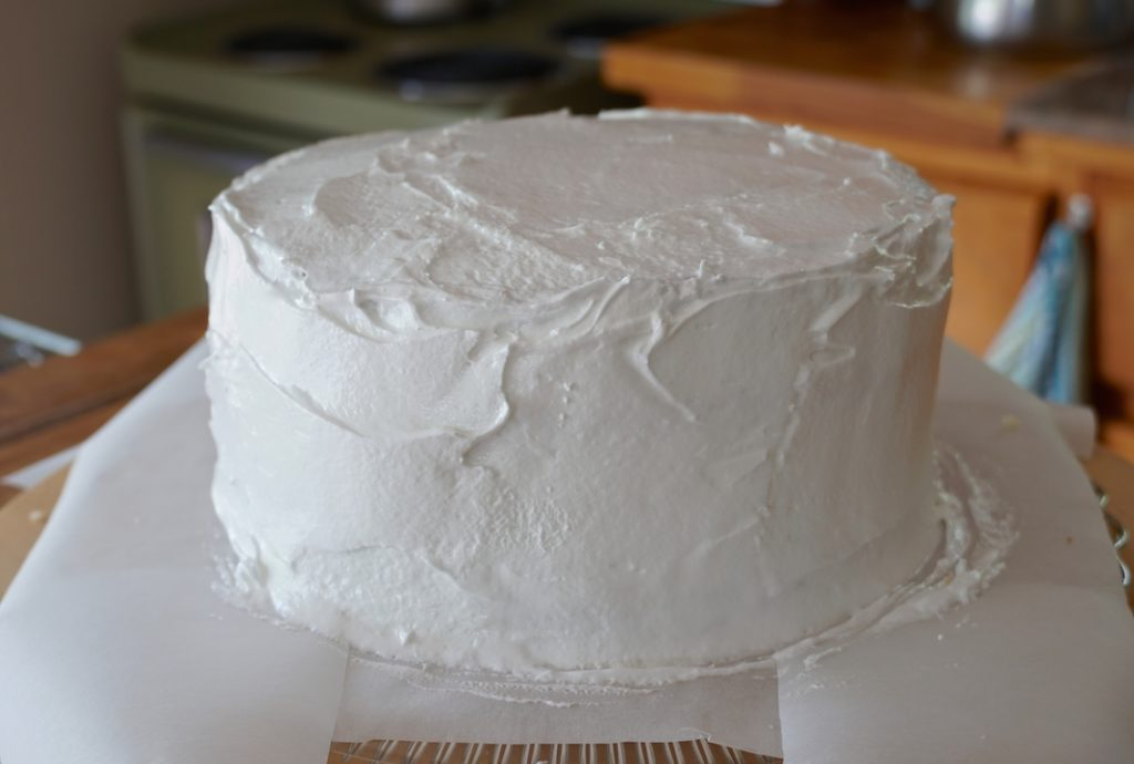 A cake iced with he billowy Seven-Minute Frosting