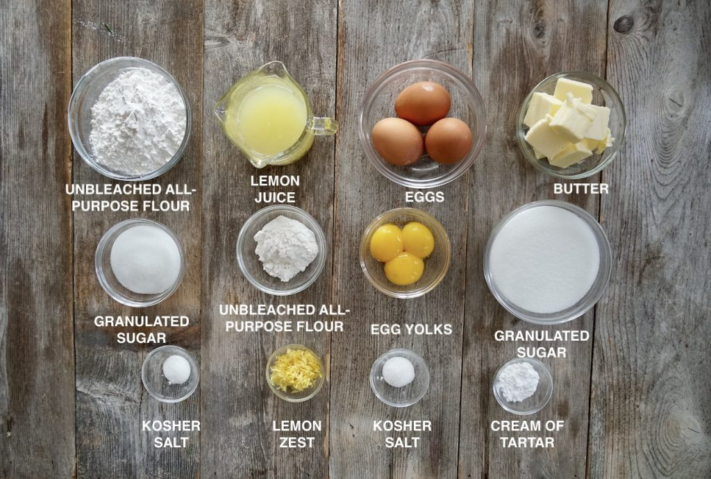 Ingredients for Tangy Lemon Squares