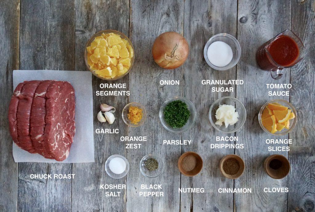 Ingredients for Orange-Spiced Pot Roast