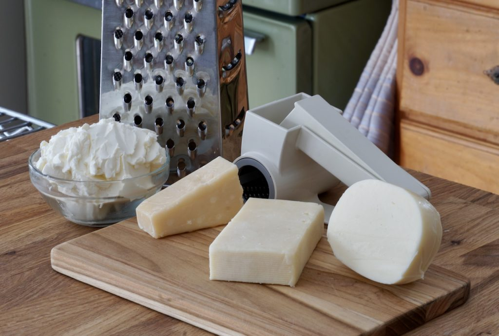 Mozzarella, Swiss, Parmesan and cream cheeses