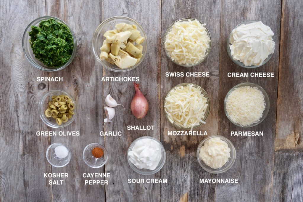 Ingredients for the Spinach Artichoke Cheese Dip