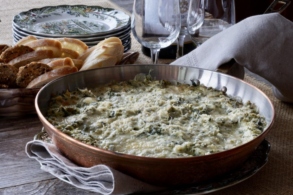 Spinach Artichoke Cheese Dip fresh out of the oven