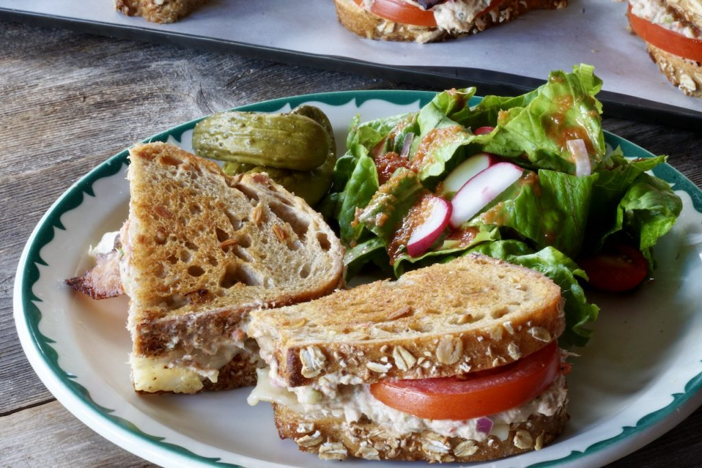 Grilled Tuna Melts served with a tossed green salad