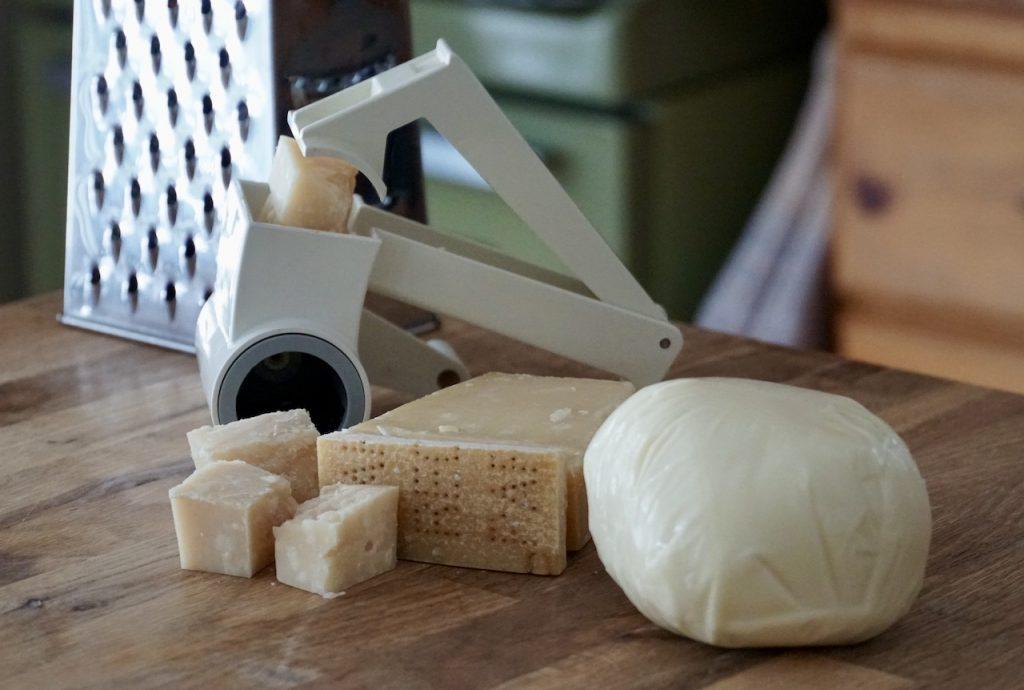 Parmesan and Mozzarella cheeses