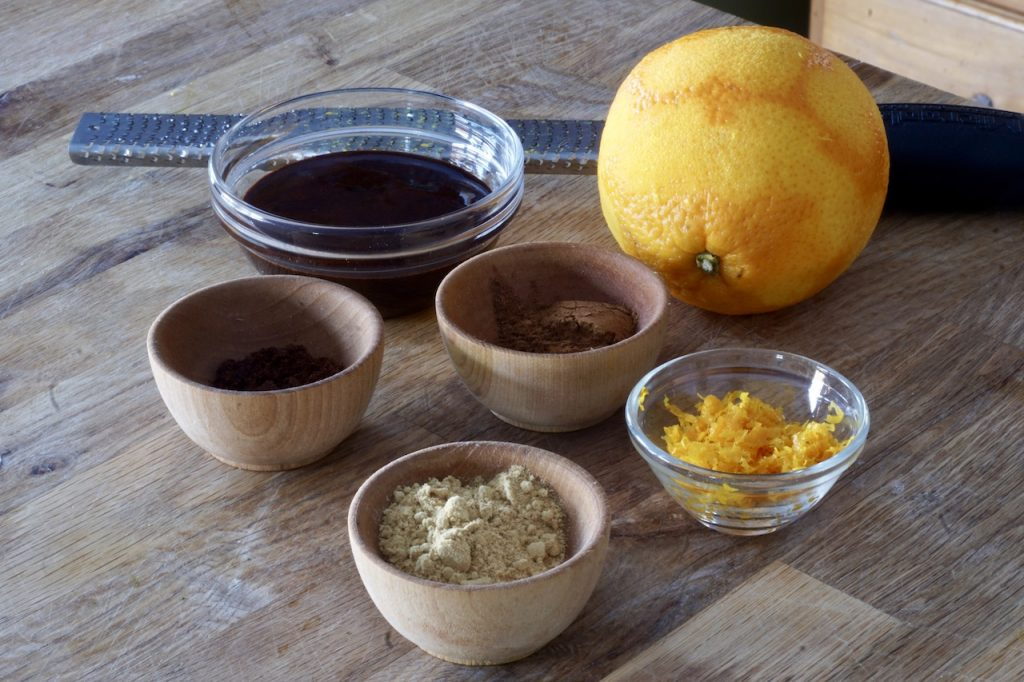 Spices, orange and molasses all used to flavour the gingersnaps