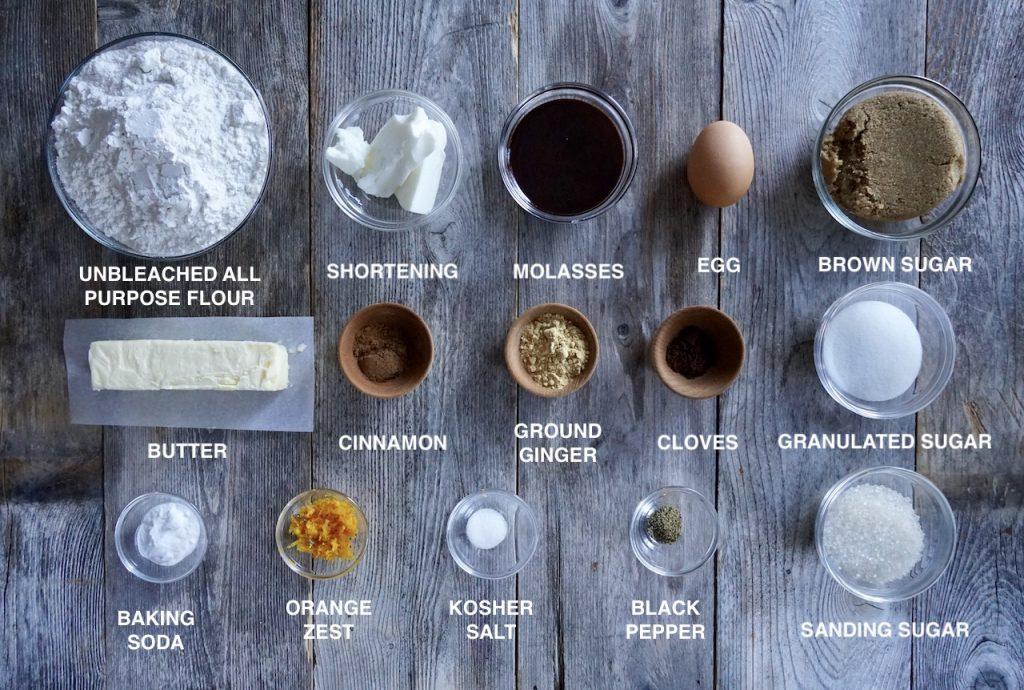 Ingredients for Gingersnap Cookies