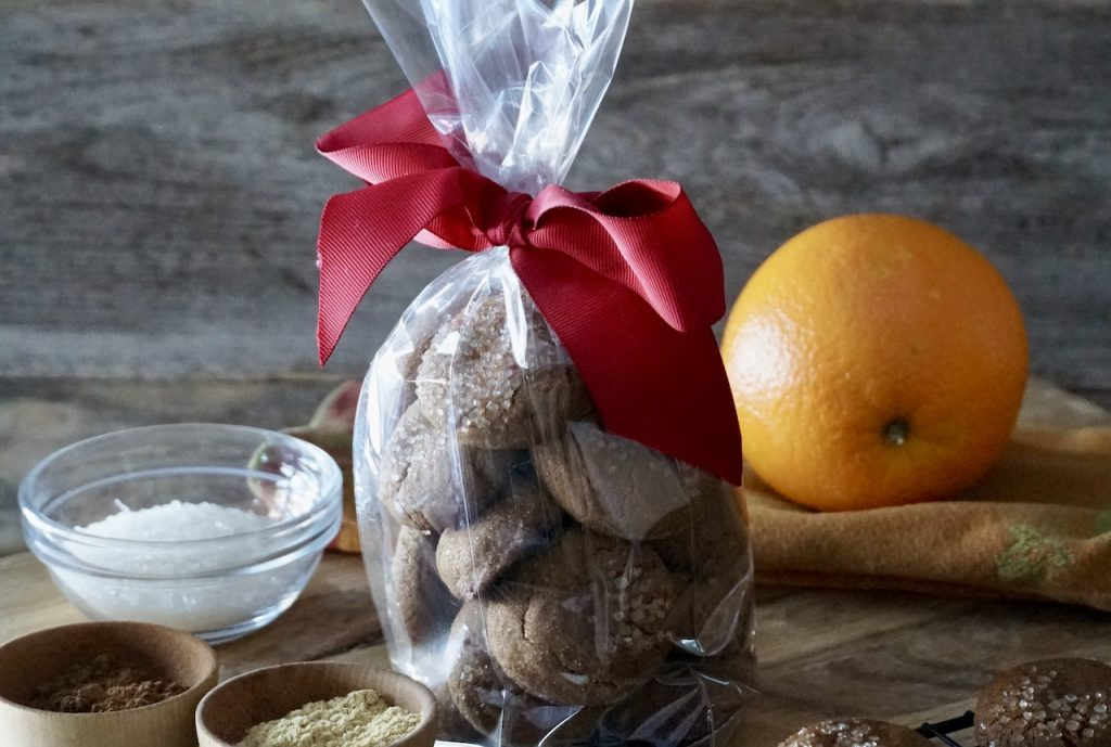 Gingersnap cookies wrapped in fancy paper as a gift