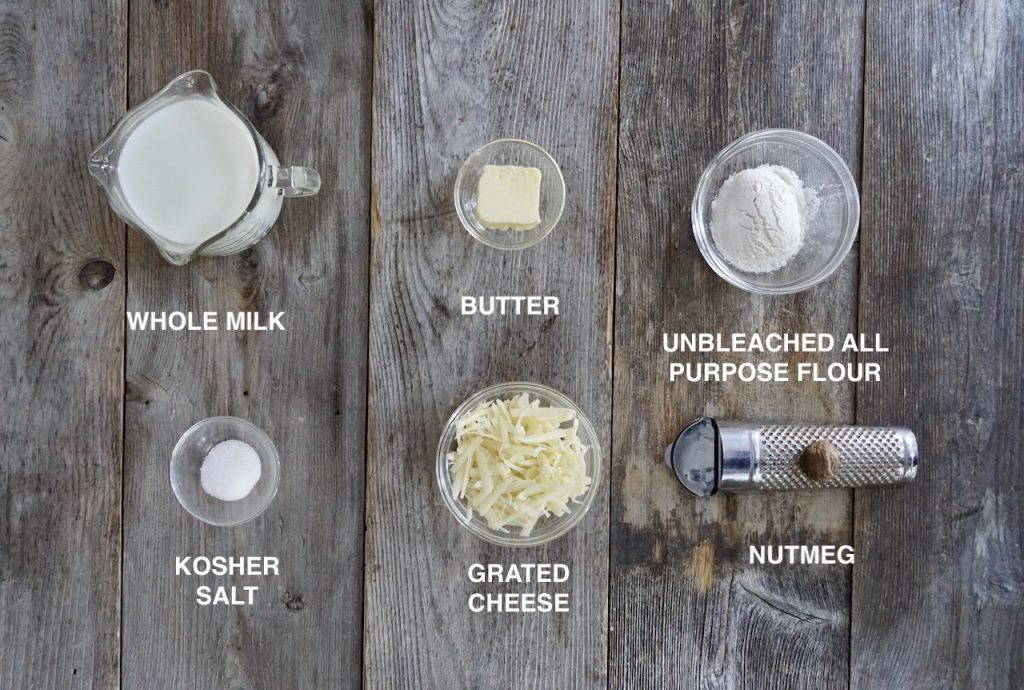 Ingredients for Mornay sauce