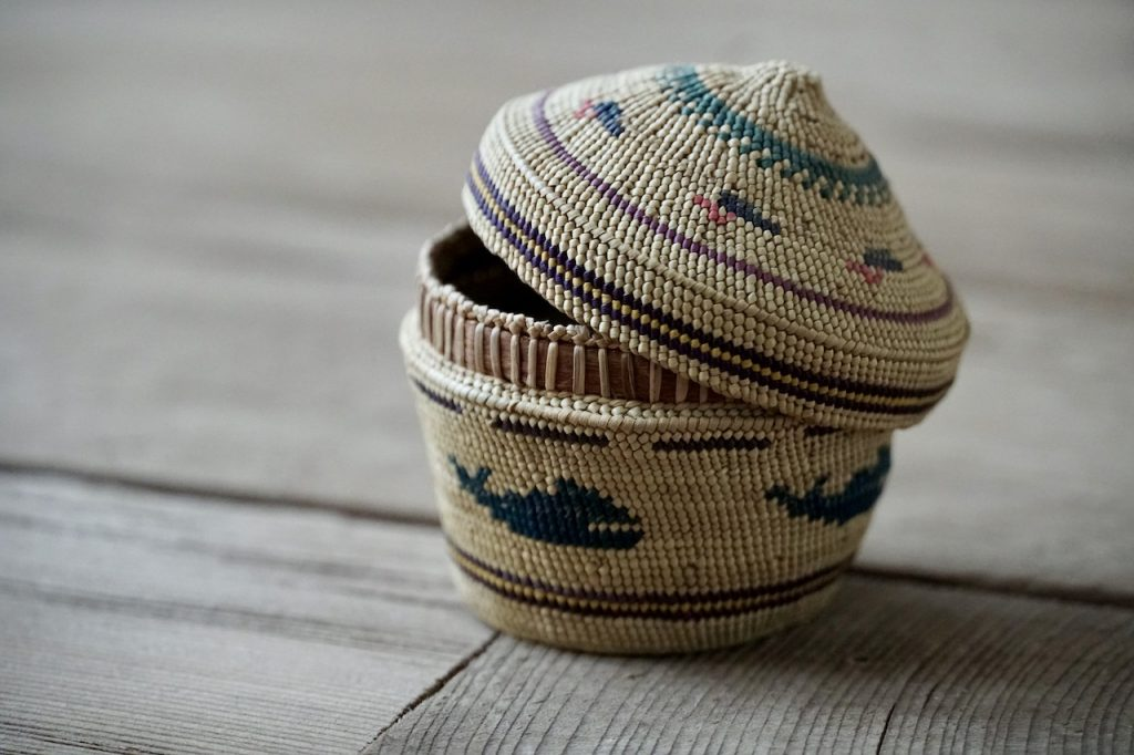 Details on a small woven basket
