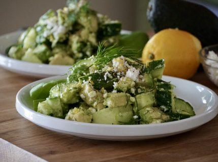Cucumber Avocado Feta Salad