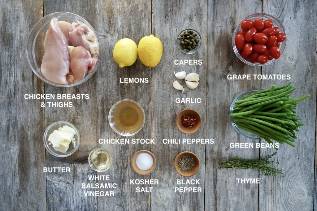 Ingredients for Chicken Piccata Sheet Pan Dinner