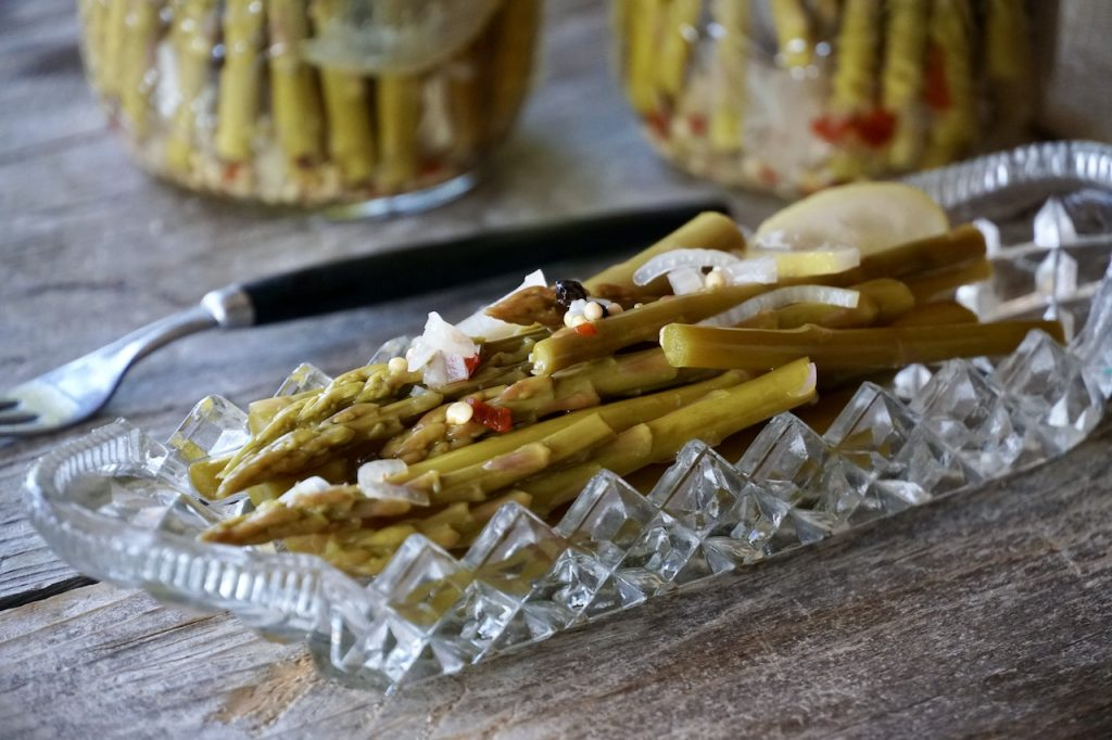 Small-batch Pickled Asparagus served in a relish tray