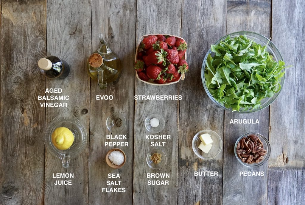 Ingredients for Baby Arugula and Strawberry Salad