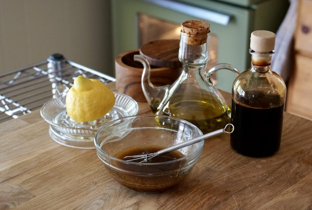 Ingredients for a very simple oil and balsamic vinegar dressing