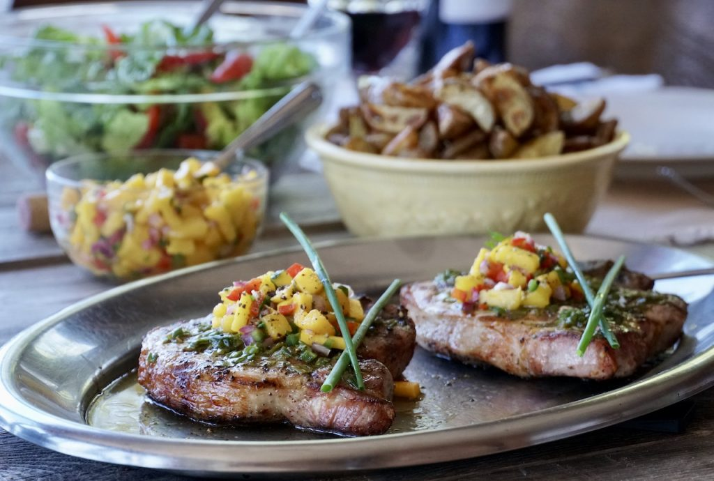 Easy Grilled Pork Chops served foe dinner with favourite sides