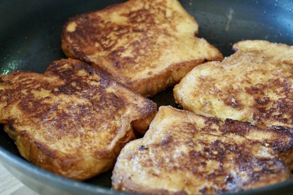 The custard soaked bread pan-fried