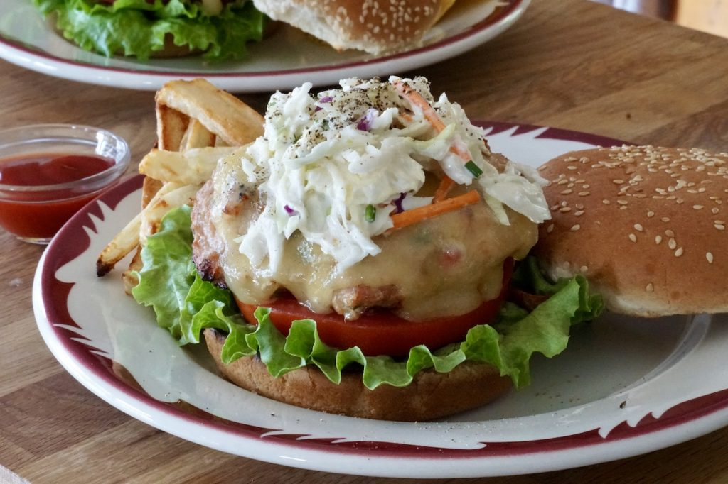 The turkey burgers topped with creamy coleslaw