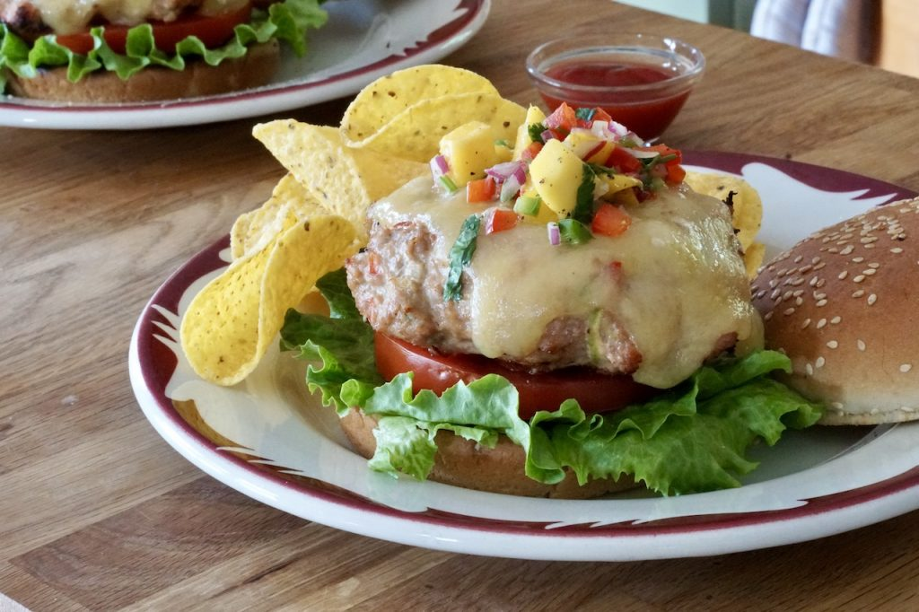 The turkey burgers topped with tangy salsa