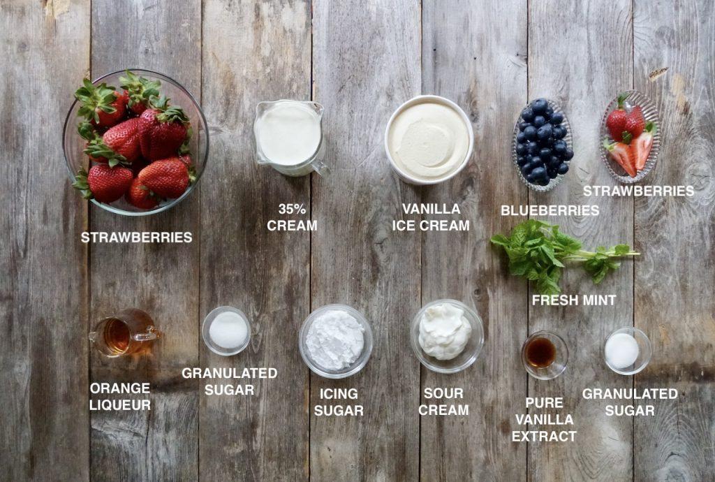 Ingredients for Strawberry Romanoff Sundaes